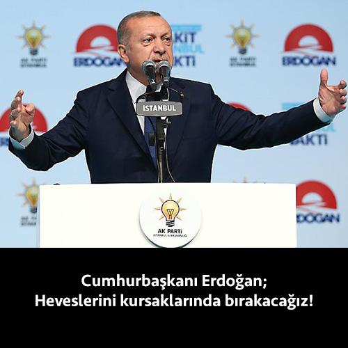 """Cumhurbaşkanı Erdoğan, """"Bu aziz şehri ve bu güzel ülkeyi örselemek için fırsat kollayanların heveslerini bir kez daha kursaklarında bırakacağız. Ülkemizin bütünlüğünü canımız pahasına koruyacağız."""" dedi. İSTANBUL Cumhurbaşkanı ve AK Parti Genel BaşkanıRecep Tayyip Erdoğan, Haliç Kongre Merkezi'nde partisininİstanbul aday tanıtım programına katıldı. Burada konuşan Erdoğan,""""Cumhurbaşkanlığı seçiminde de Türkiye genelinde hedefimize ulaşabilmenin yolu, önce İstanbul'u veya […]"""